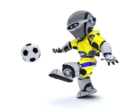 3D render of a Robot playing soccer Stock Photo - 14047745