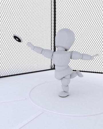 lanzamiento de disco: 3D render del hombre tirando de un disco Foto de archivo