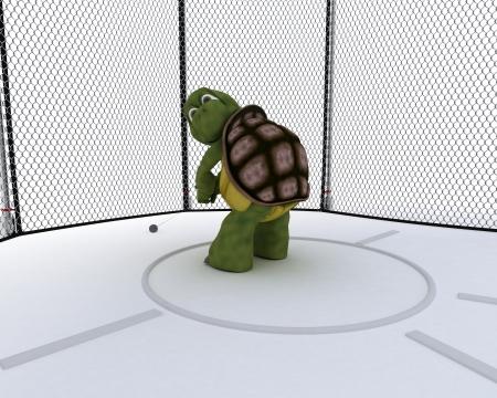 lancer marteau: Rendu 3D d'une tortue en concurrence dans le marteau de remorquage Banque d'images