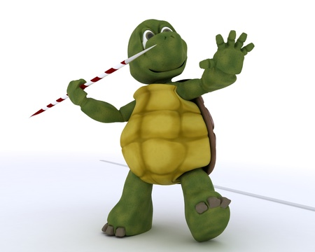 3D render of a tortoise competing in javelin photo
