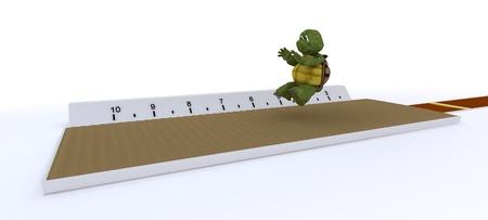 salto largo: 3D render de una tortuga compitiendo en salto de longitud Foto de archivo