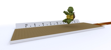3D render of a tortoise competing in long jump photo