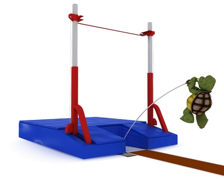 3D render of a tortoise competing in pole vault photo