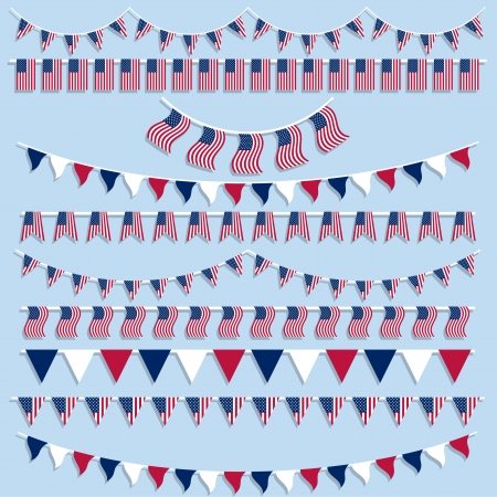 Collection of bunting and pennants with American flag design Vector