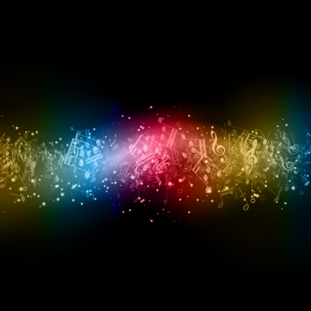 Abstract background with colourful music notes Illusztráció