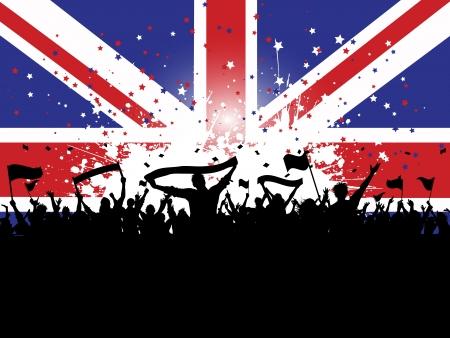 bandera inglesa: Silueta de una multitud excitada sobre un fondo grunge la bandera Union Jack