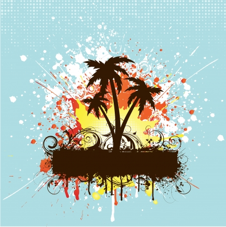 grunge tree: Grunge background with silhouettes of palm trees Illustration