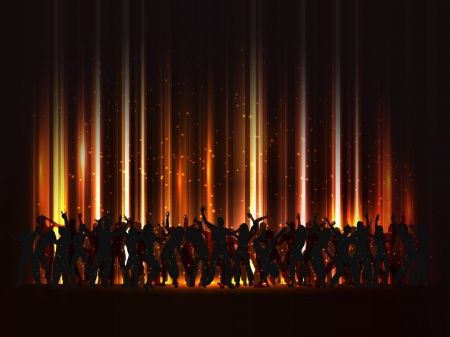 Silhouette of a huge crowd of party people on an abstract background Stock Vector - 14216743