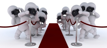 3D render of Paparazzi at the red carpet Stock Photo