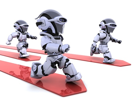 3D render of Robots leading the race photo