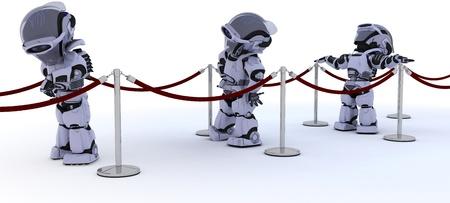 3D render of Robots waiting in line photo
