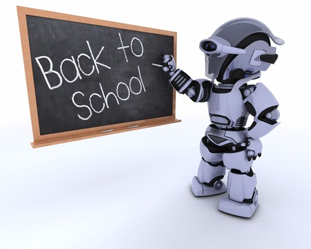3D render of a Robot with school chalk board back to school