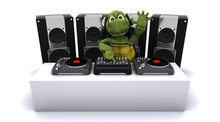 3D render of a tortoise DJ mixing records on turntables Stock Photo - 14271853