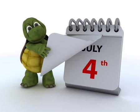 calender: 3D render of a tortoise with a calendar