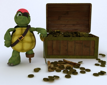3D render of tortoise pirate with a treasure chest photo