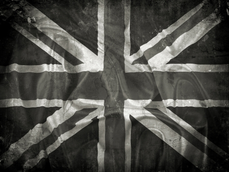 grunge union jack: Grunge Union Jack flag background with splats, stains and creases
