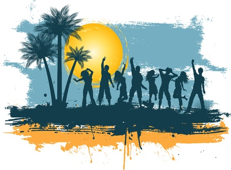 Silhouettes of people dancing on a grunge summer background photo