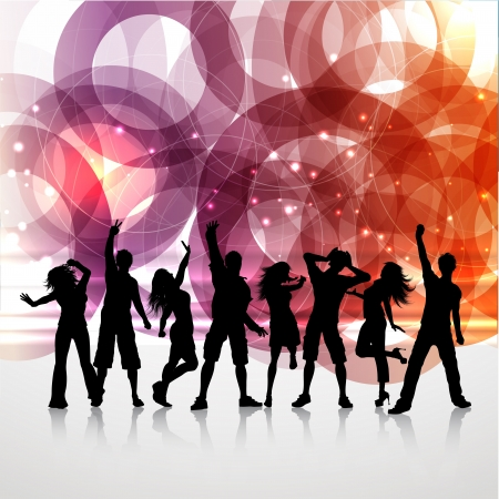 futuristic woman: silhouettes of people dancing on an abstract background Stock Photo
