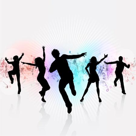 dancing people: Silhouettes of people dancing on a music notes background