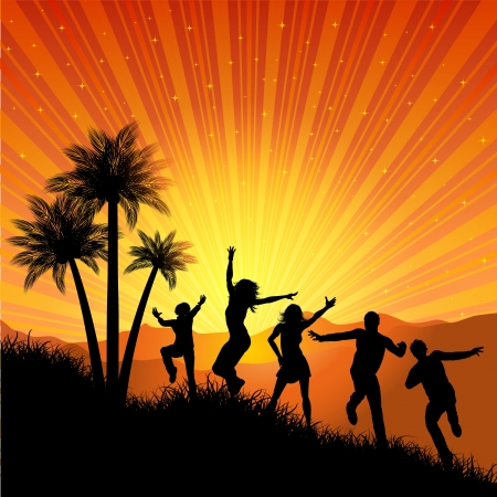 Silhouettes of people dancing on a tropical background photo