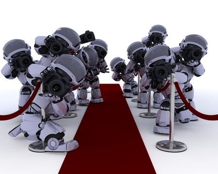 3D render of Robot Paparazzi at the red carpet Stock Photo - 14496382