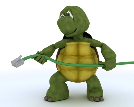 3D render of a tortoise with RJ1 cable photo