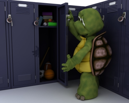 3D render of a tortoise with school locker Stock Photo - 14496375