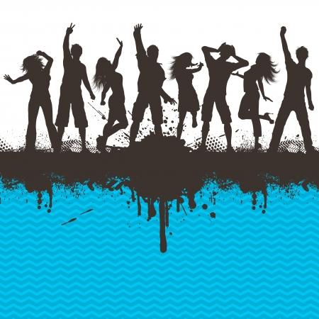 gente bailando: Siluetas de personas bailando en un fondo grunge con rayas Chevron