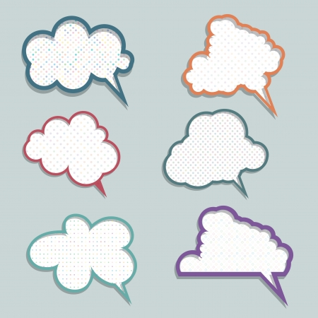 Collection of speech bubbles with polka dot designs photo