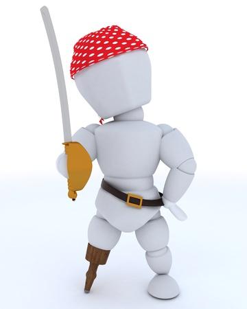 3D rendering di uomo vestito da pirata con gamba di legno Archivio Fotografico - 14652742