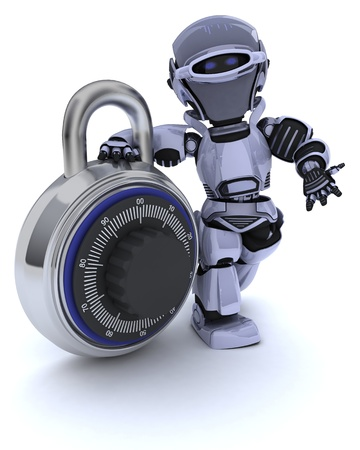 3D render of a Robot with combination padlock photo
