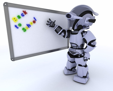3D render of a Robot with White class room drywipe marker board photo