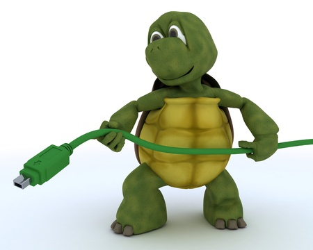 3D render of a tortoise with firewire cable Stock Photo - 14652759