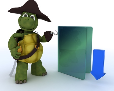 3D render of a Pirate Tortoise depicting illegal downloads photo