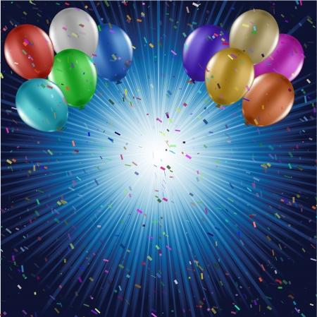 Coloridos globos y confeti sobre fondo starburst