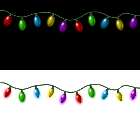 Strings of Christmas lights on a black and white background