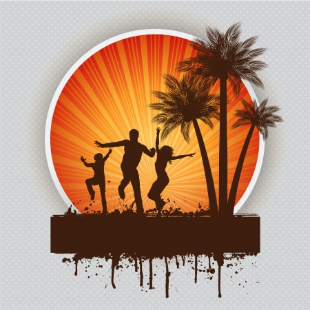 Silhouettes of people dancing on a grunge summer background Stock Photo - 14765099