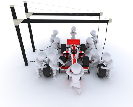 pit stop: 3D Render of a Race car pit stop Stock Photo