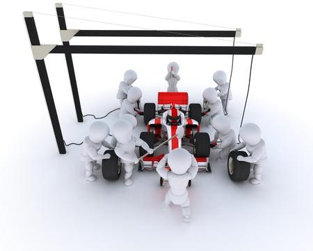 pit stop: Render 3D de una parada de pit Race coche