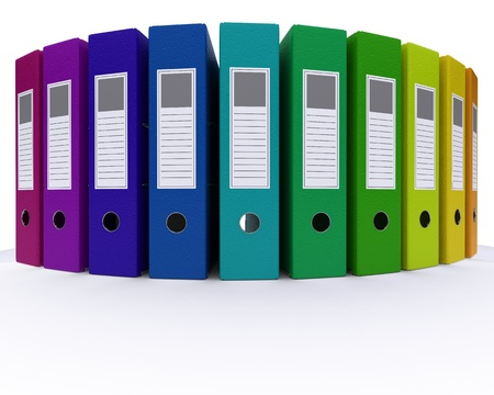 3D Render of colourful folders photo