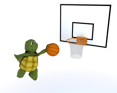 3D render of a tortoise playing basket ball photo