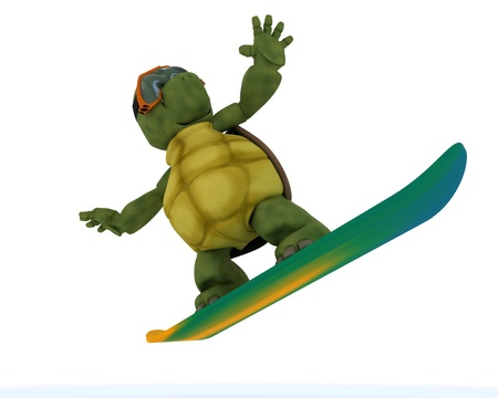 3D render of a tortoise riding a snowboard photo