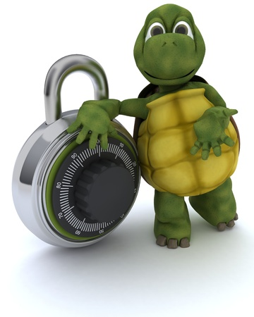 3D render of a tortoise with combination padlock photo