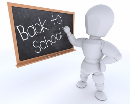 3D render of a man with school chalk board back to school photo