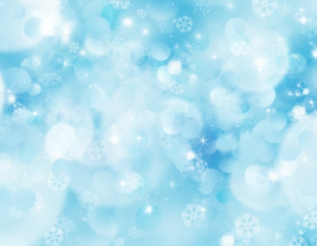 Christmas background with snowflakes and bokeh lights photo