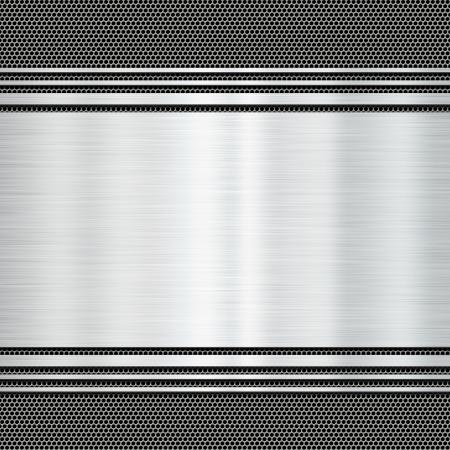 shiny metal: Shiny metal plate on a grunge background Stock Photo