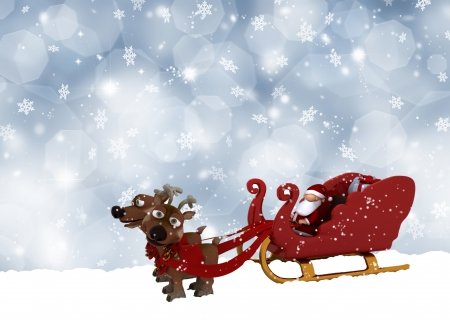 Cute Santa Claus and his reindeers on a snowflake background photo
