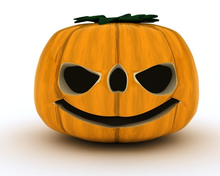 3d halloween: 3D Render of Carved pumpkin Jacko Lantern Stock Photo