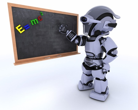 scifi: 3D render of a Robot with school chalk board Stock Photo