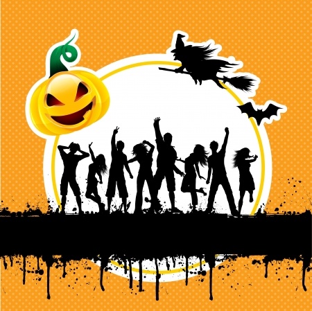Silhouettes of people dancing on a grunge style Halloween background photo